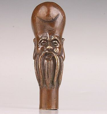 Bronze Statue Longevity Have Good Luck Cane Walking Stick Head Handle Collectab