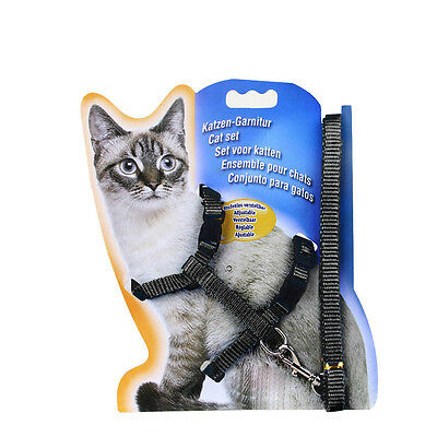 Durable Adjustable Cat Puppy Nylon Harness Collar Leash Lead Safety Walking Rope