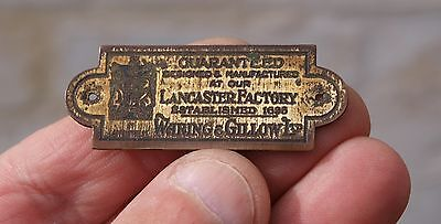 Reclaimed Brass Waring & Gillow Ltd Brass Furniture Name Plate Plaque