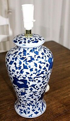 Stunning Large  Table Lamp In Blue And White Pattern