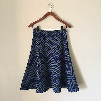 FAB Vintage 70s BLUE Stretch KNIT Chevron STRIPE FLARED Midi SKIRT 10/ Small 12