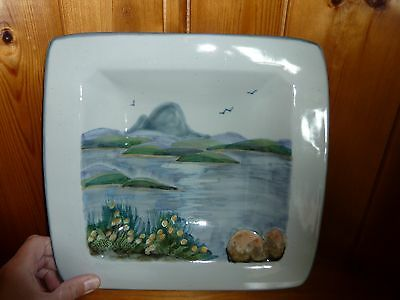 Scottish Highland Stoneware Free Hand Painted Wall Plaque Seascape / Landscape