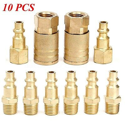 10 pcs Solid Brass Quick Coupler Set Air Hose Connector Fittings 1/4 NPT Tools