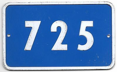 Old blue French house number 725 door wall gate plate plaque metal sign