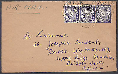1954 Eire/Ireland 5d+5d+5d Airmail to Basse, Gambia, British West Afica