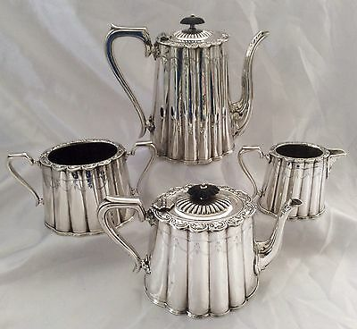 Fine Antique Victorian Sheffield Silver Plated Chased 4pc Tea Set C.1890