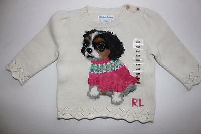 Girls Ralph Lauren Baby Girl Infant Puppy Dog Pullover Sweater Size 9 Months NWT