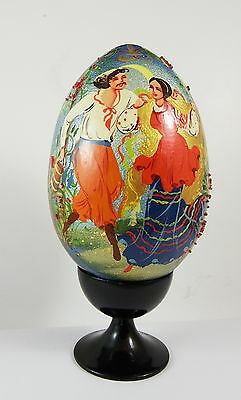 Beautiful Russian Hand Painted Lacquered Bejewelled Egg Russian Dancers Scene