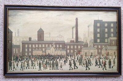 Vintage Framed 1928 OUTSIDE THE MILLS L. S. Lowry (1887) No 231272 Oil On Board