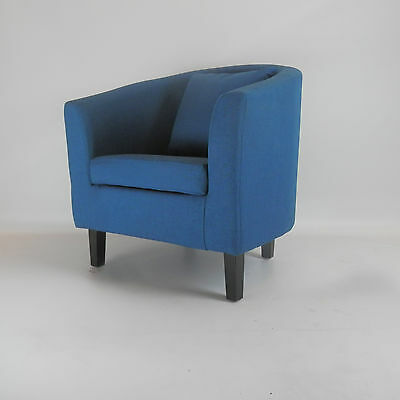 Fabric Linen Tub Chair Armchair Living Room Dining Office Reception - Teal