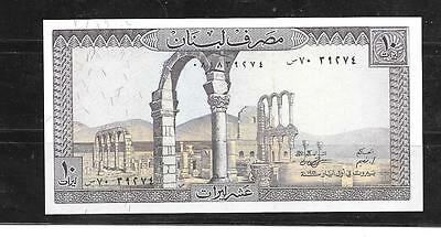LEBANON #63f UNC OLD 1986 10 LIVRES BANKNOTE PAPER MONEY CURRENCY BILL NOTE
