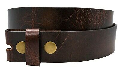 Full Grain Buffalo Leather Solid One-Piece Belt Strap Aniline Finish - Red Brown