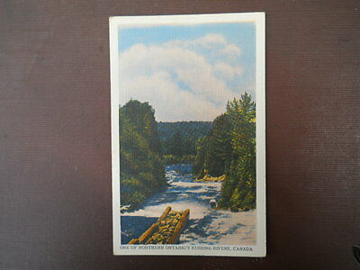 Vintage Linen Postcard, One of Northern Ontario's Rushing Rivers, Canada