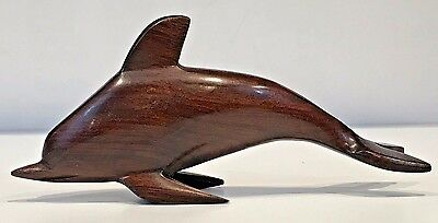 """Carved Dolphin Ironwood 3 1/4"""" Tall X 7"""" Long Raised Up On Flippers"""