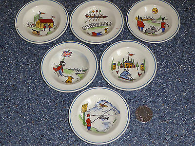 Antique Wedgwood Daisy Makeig Jones Childs Toy Soup Rimmed Bowls X6 Noah's Ark