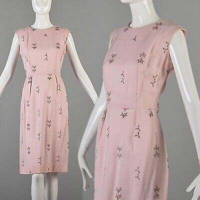 S Vintage 1950s 50s Day Dress Pink Pencil Simple Embroidered Flowers Sleevless