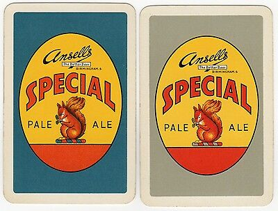 2 x Playing Cards Single Swap Card - Old ANSELL'S Brewery PALE ALE Beer SQUIRREL
