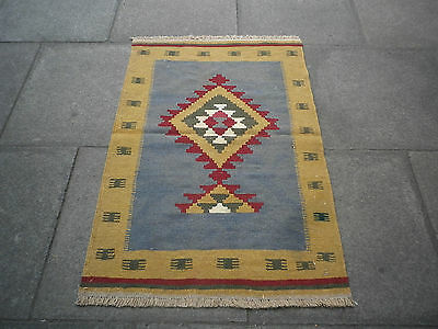 Old Traditional Hand Made Persian Oriental  Wool Grey Brown kilim  Rug 115x75cm