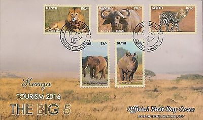 2017 Kenya Big 5 NEW ISSUE May 10 Elephant Lion set of 5 First Day Cover