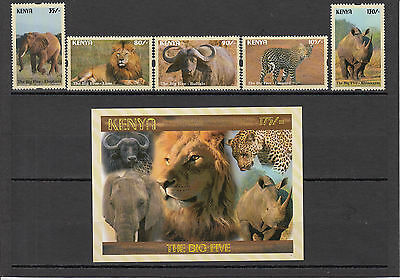2017 Kenya Big 5 NEW ISSUE May 10 Elephant Lion set of 5 MNH + Souvenir sheet