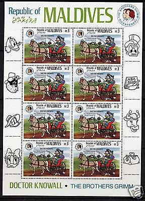 Maldives 1146 Sheet MNH Disney, Doctor Knowall, Brothers Grimm, Horse, Rig
