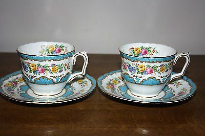 "Pretty Pair Of Crown Staffordshire ""Tunis - Blue"" Bone China Cups & Saucers"