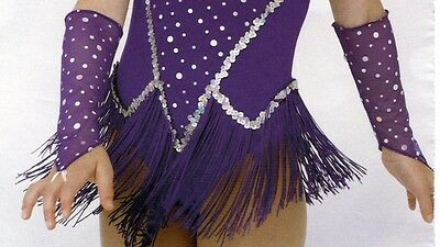 NWT Mesh Sparkle Mitts Child small plum hologram foil stretch dance costume