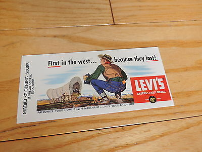 Levi Strauss Overalls Advertising Ink Blotter Old 1950s New Old Stock Original