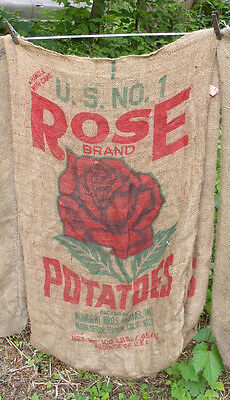 "Vintage Burlap Bag Sack Ad ""Red Rose""  California Potatoe USA Kundert Bros farm"