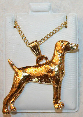 WEIMARANER Dog 24K Gold Plated Pewter Pendant Chain Necklace USA Made Jewelry