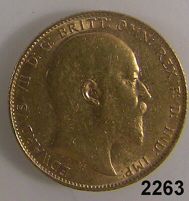 Great Britain 1909 King Edward Full Sovereign 22K Gold Coin .2354 Oz. Gold #2263
