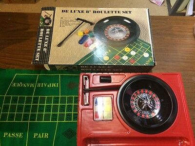 """Deluxe 8"""" Roulette Wheel Game Set in Box, Complete"""