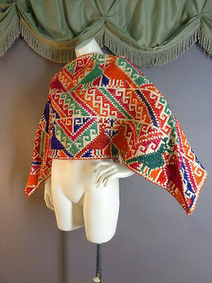 Vintage Guatemala HUIPIL WITH BIRDS bright embroidery cape poncho top
