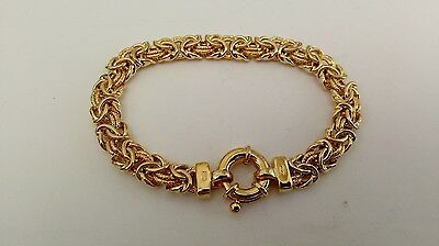 """Gold over Sterling Silver 925 Italy Vermeil 8mm Chain link Bracelet 7"""" 17.2g"""