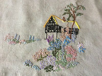 Vintage embroidered beige linen cushion cover, thatched cottage, countrry flower
