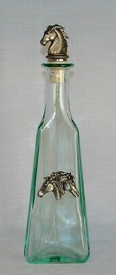 Heritage Metalworks HORSE HEAD PEWTER CORK TOP & PEWTER INSIGNIA on GLASS BOTTLE