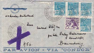 Fine 1937 Brazil Condor Airmail Cancelled Service Cover Posted To Germany 29*