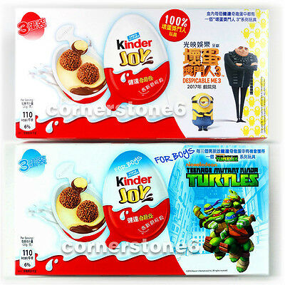 ~ 6 x KINDER Joy chocolate - DESPICABLE ME 3 + TURTLES - Surprise Toys * for BOY