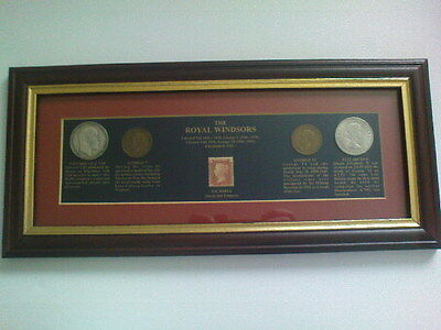 Halfcrown To Stamp. The Royal Windsors Framed Coins And Stamp    Collection