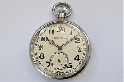 1940'S JAEGER LeCOULTRE MILITARY 15 JEWELLED SWISS LEVER POCKET WATCH WORKING