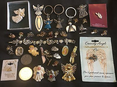 Vintage to Now CHRISTIAN ANGEL Costume Jewelry Key Chains Brooches Pins Lot 2