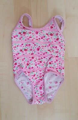 Girls Pink Floral Pattern Swimming Costume Size 18-24 Months 1.5-2 Years