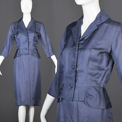 S/M Vintage 1950s 50s Silk Skirt Suit Blue Jacket Hourglass Wasp Waist Fitted