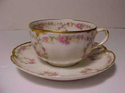 Haviland Demi Size Cup and Saucer with Roses