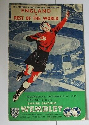 1953 England v Rest of the World. Players inc Austria Germany Italy Spain Sweden