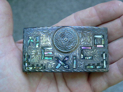 Vintage Mexican Silver BELT BUCKLE Sun Stone Design w inset abalone Mexico