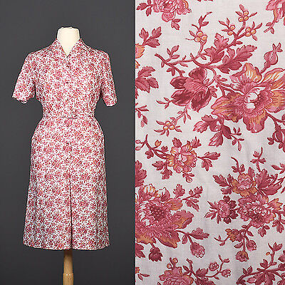 3XL Vintage 1950s 50s Floral Cotton Day Dress Plus Size Pink Red Casual Summer