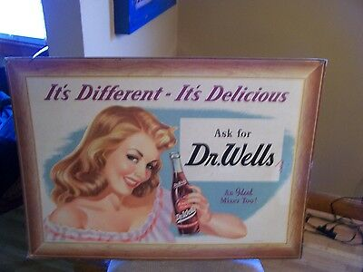 Vintage Dr Wells Soda  Drink Sign Code.No.D.W.46 Size 29X21 Only One On E-bay