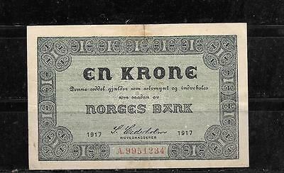 NORWAY #13a 1917 VF CIRC KRONE OLD BANKNOTE PAPER MONEY CURRENCY BILL NOTE