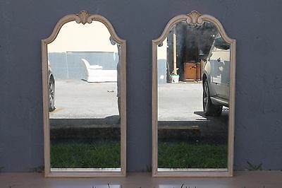 Mid Century Modern Pair Of Off White Carved And Painted Beautiful Wall Mirrors